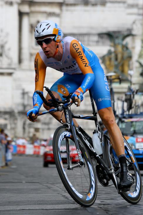 ジロ最終TTで1秒差の2位に入ったブラドレー・ウィギンズ(イギリス、ガーミン)
