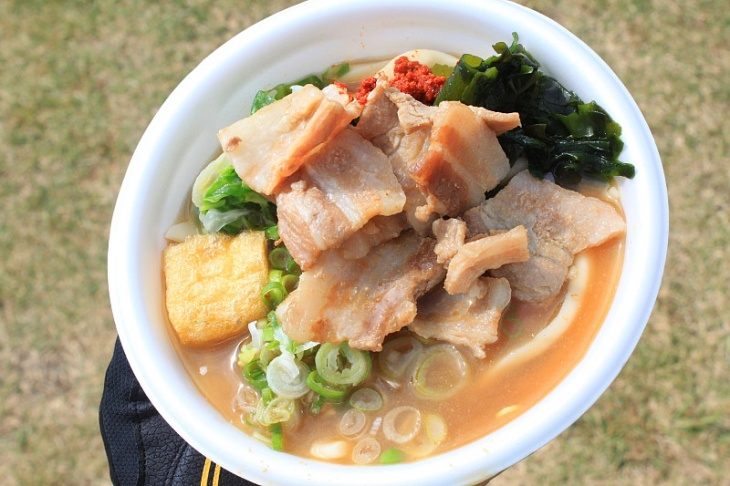 ゴール地点で食べた吉田うどん 地元の豚肉が使われていて美味しかった!