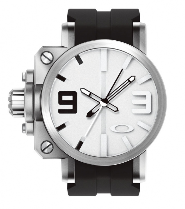 Brushed/White Dial, Rubber Strap
