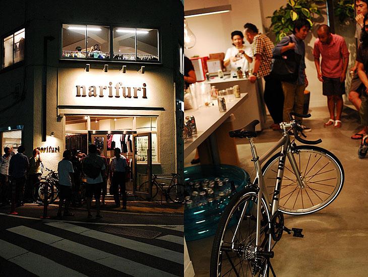 ショップ プレオープンの模様(右)と、narifuriが手がけた自転車、HELMZ(左)