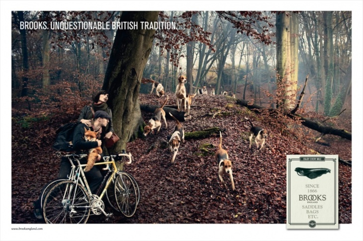 ブルックスの最新広告。『揺るぎない英国の伝統』というキャッチコピーとともに