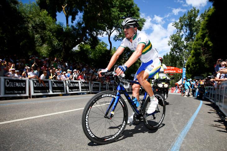 逃げ切りでステージ優勝を果たしたウィリアム・クラーク(オーストラリア、UniSAオーストラリア)