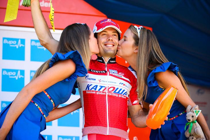 ステージ優勝を飾ったオスカル・フレイレ(スペイン、カチューシャ)