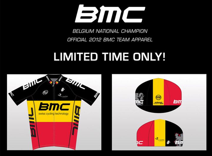 BMCチームベルギーチャンピオンショートスリーブジャージ、キャップ