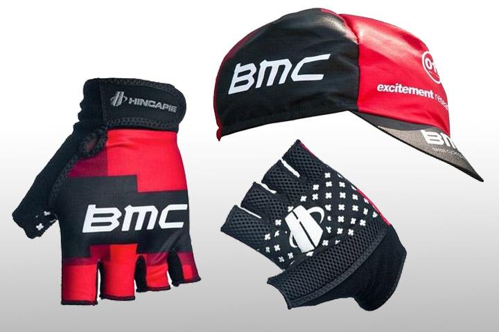 BMCチームサイクリングキャップ、レースグローブ