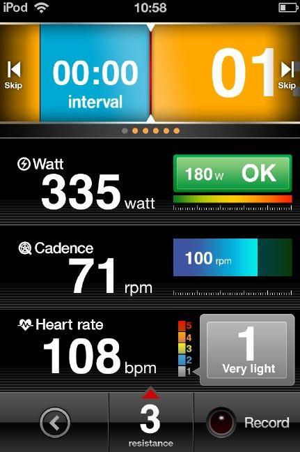 インターバル練習モードでは心拍を5段階でレベル表示できる
