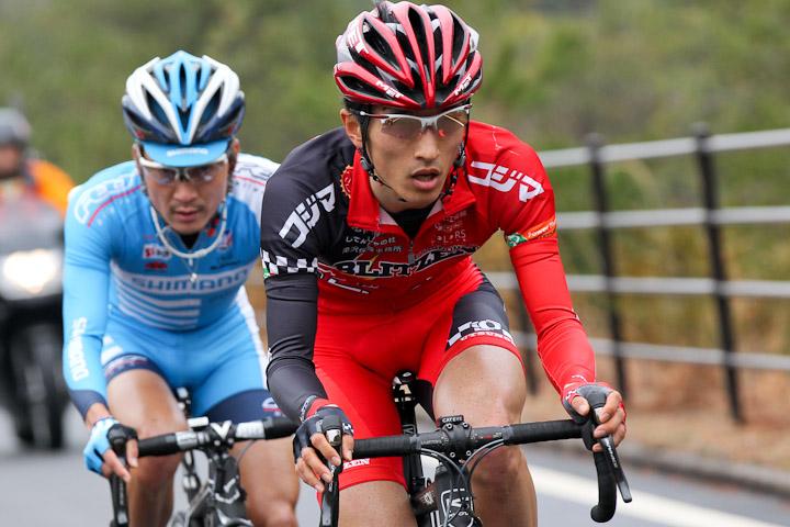 復帰後の西日本チャレンジサイクルロードレース2012では逃げを決め2位。存在感を見せつけた: photo:Hideaki.TAKAGI