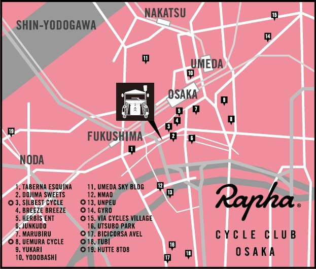 Rapha Cycle Club Osakaマップ