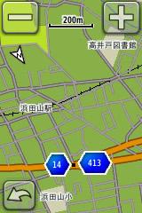 縮尺200mの表示画面。主な幹線道路と自転車で走れる枝道が適度に表示され、使いやすい距離感