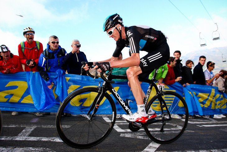 超級山岳クイトゥ・ネグルでマイヨロホから2分32秒遅れたクリス・フルーム(イギリス、チームスカイ)