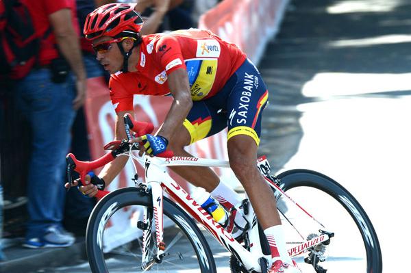 マイヨロホを着て地元マドリードに凱旋したアルベルト・コンタドール(スペイン、サクソバンク・ティンコフバンク)