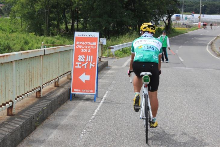 すんなりと松川エイドに到達。一番の楽チン区間でした。