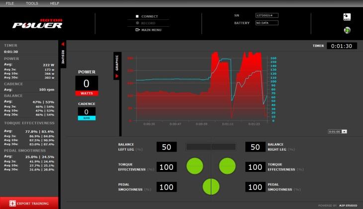 ROTOR POWERの詳細データを確認できるソフトウェア