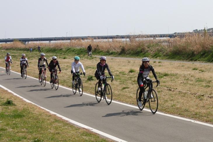 一般道から一旦離れてサイクリングロードに入る。天候に恵まれ、日差しが暖かい一日だった