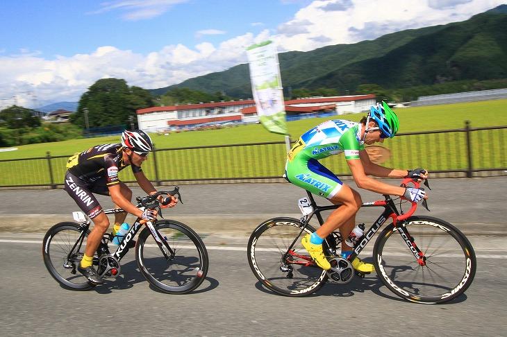 エドワード・プラデス(ポルトガル、マトリックスパワータグ)とホセ・ビセンテ(スペイン、Team UKYO)が抜け出しに成功する