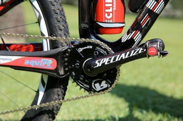 2013年のMTBマラソン世界王者クリストフ・サウザー(スイス)のバイクに取り付けられたQ-RINGS