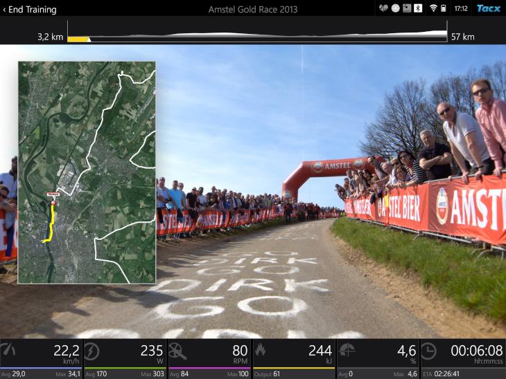 Filmモードでは世界各国の有名レースのコースをバーチャルで走りながらトレーニングできる