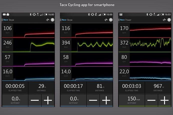 スマートフォンでTacx Cycling appを使用した際のスクリーンキャプチャー