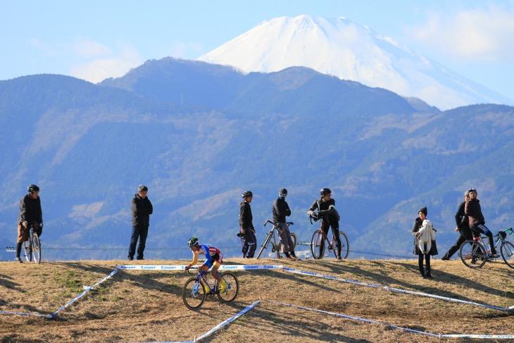 遠景にぽっかりと浮かぶ富士山の冠雪の頂