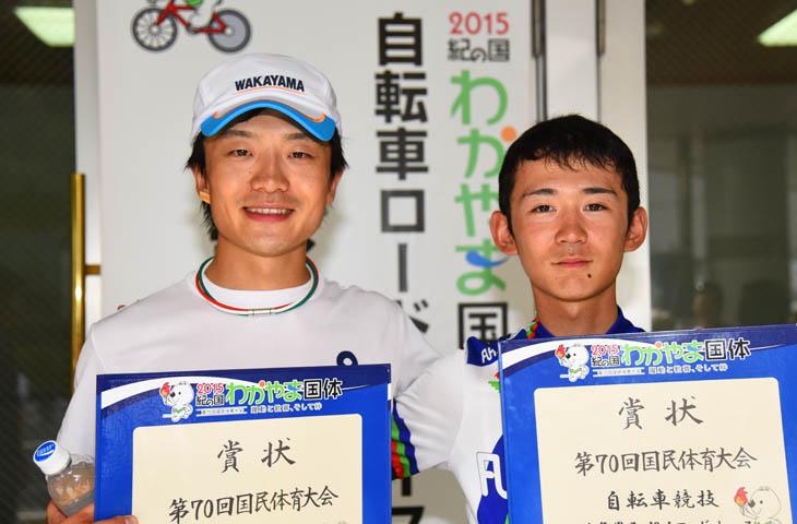 成年男子優勝の窪木と少年男子優勝の渡邉 学法石川高校の先輩・後輩にあたる