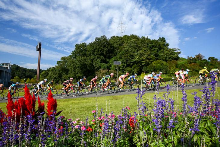 花の谷を進むP1予選1組: photo:Hideaki TAKAGI