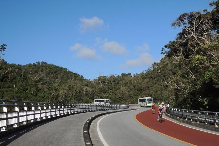 レースでは最後の登りとなる羽地ダムへの道を下る