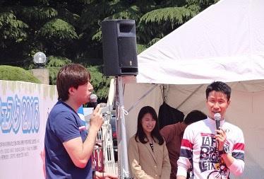 サイクルロードレース中継でお馴染みのサッシャさんと栗村修さんのコンビによるトークショーも予定されている