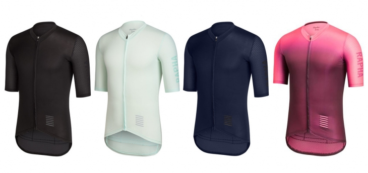 Rapha Pro Team Aero Jersey(左からBlack、Light Blue、Nevy、Coloburn)