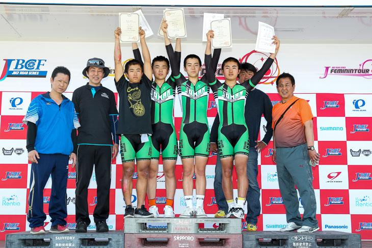 今年創部で初戦のきらら浜で活躍の松山城南高等学校自転車競技部