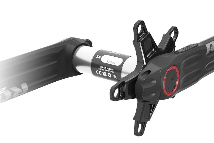 アクスルには、左側のパワーを計測する4つのひずみゲージと、バッテリーが搭載される