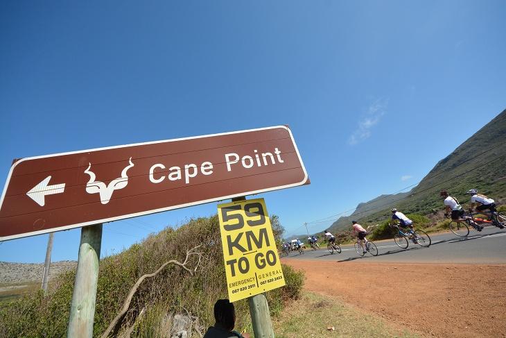 レース前日は喜望峰の岬までのライドを予定