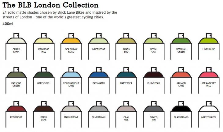 開発に携わったBLBがチョイスした計24色のロンドンコレクション: (c)spray.bike