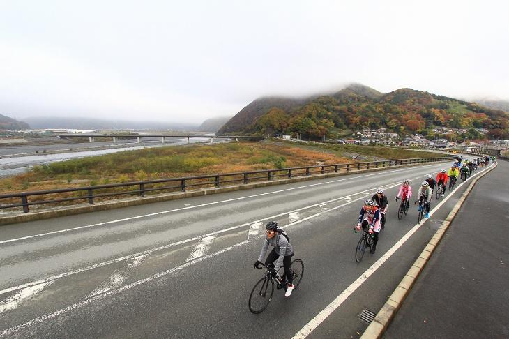富士川を遠くに望みつつ走っていく