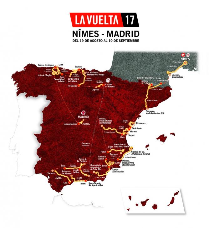 ブエルタ・ア・エスパーニャ2017コースマップ