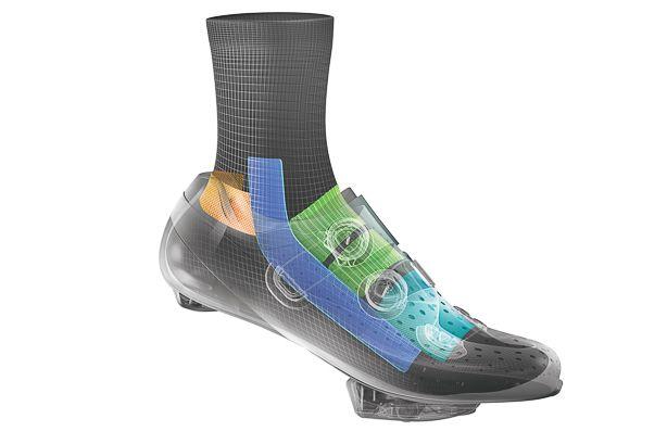 カカトを最適な角度に導くアンクルガイド(青)や、カカトのスリップを防ぐ編み込み(橙色)、クロージャーの締め付けから足を守る編み込み(黄緑)など様々な工夫が施されている