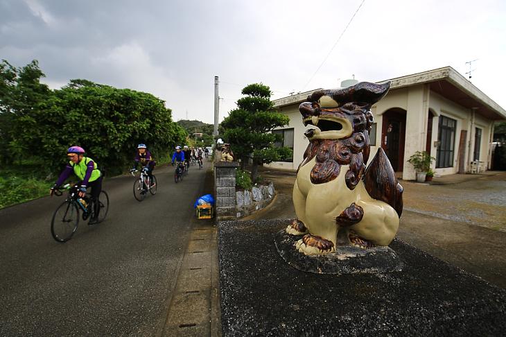 それぞれ家屋の入り口には沖縄の守り神シーサーが
