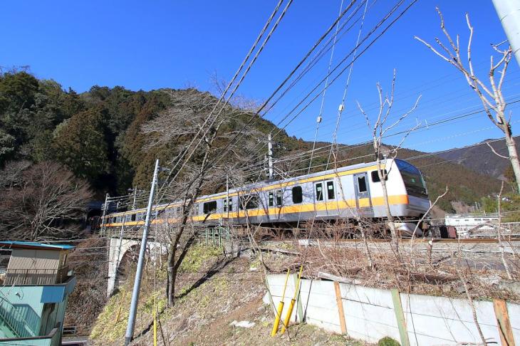 JR青梅線は青梅街道より一段高い所を進みます。
