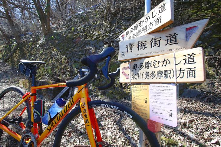 この先のむかし道は自転車不可ですね