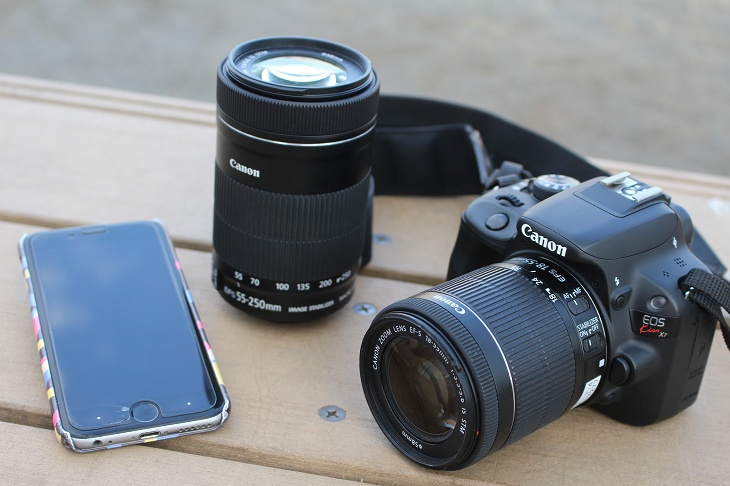 今回の撮影に使ったのは入門用の一眼レフカメラの標準レンズ、望遠レンズ、iphone6Sである