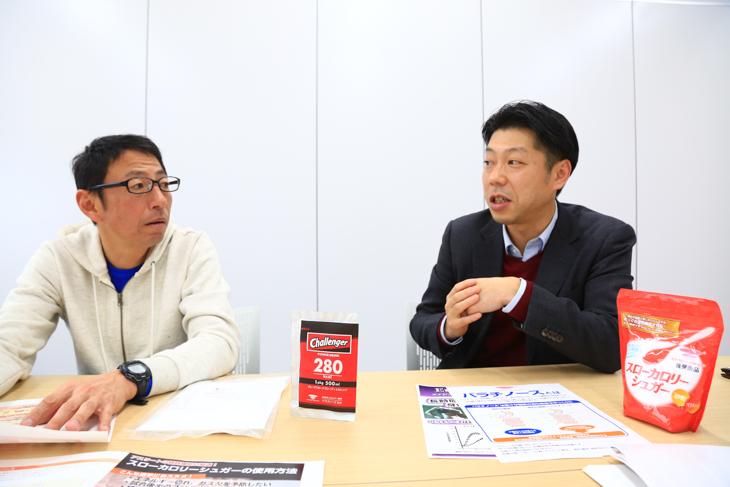 滝川次郎さん(左/パワースポーツ代表)と堀信之さん(三井製糖株式会社フードサイエンス本部)