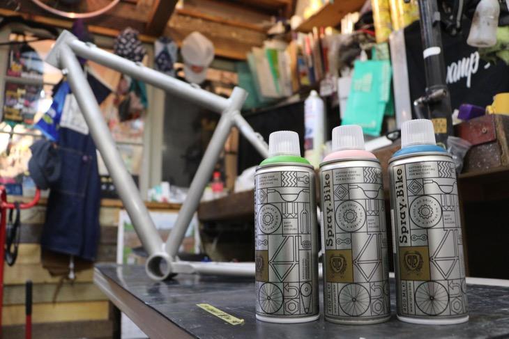 塗装に使ったSpray.Bikeと、Squid Bikeのアルミシクロクロスフレーム