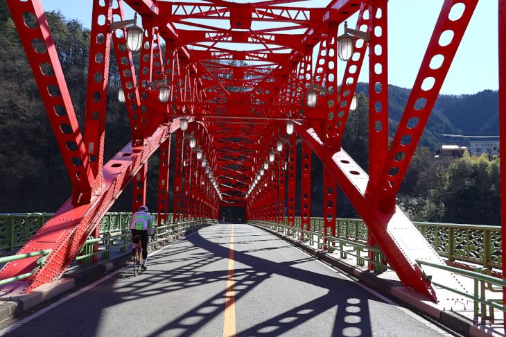 肉抜きされた真紅の鉄骨と無数のリベットが美しいアーチ橋形状。昭和32年竣工の57歳だ。