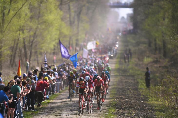 グレッグ・ヴァンアーヴェルマート(ベルギー、BMCレーシング)を先頭にアランベールの森を行く