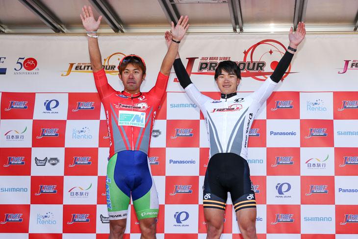 Jプロツアーリーダー 吉田隼人(マトリックスパワータグ)、U23リーダー 大前翔(東京ヴェントス)