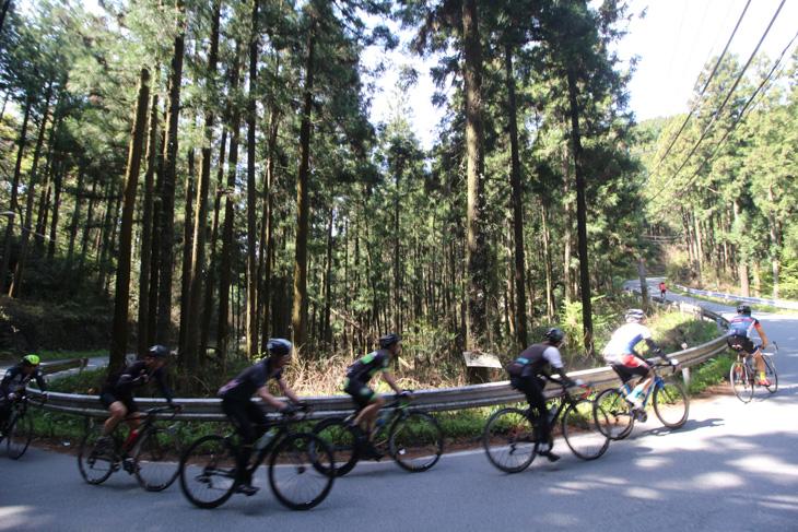 松郷峠へと上るグループ