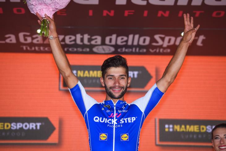 ステージ4勝目を飾ったフェルナンド・ガビリア(コロンビア、クイックステップフロアーズ)