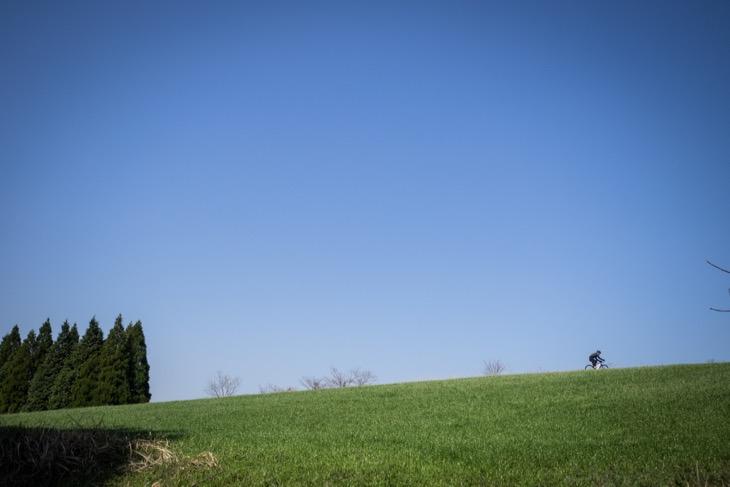 抜け感の良い草原を見つけ、思わず駆け上がっていく岩崎さん