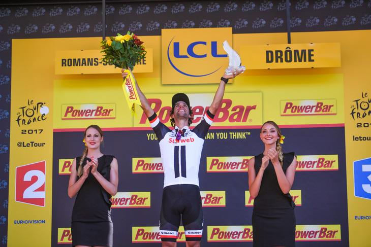 ステージ2勝目を飾ったマイケル・マシューズ(オーストラリア、サンウェブ)