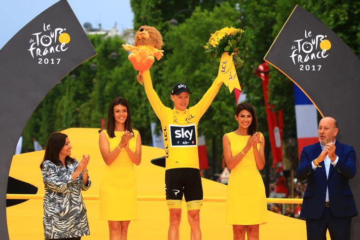 4度目の総合優勝を果たしたクリストファー・フルーム(イギリス、チームスカイ)