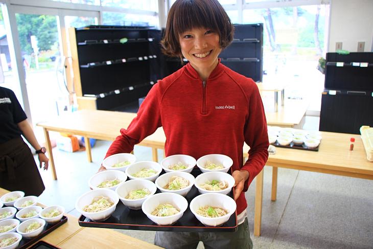 長野県産の地粉を用いた冷や麦でゴールに向かう最後の腹ごしらえ